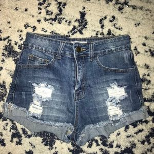 Ripped denim shorts!